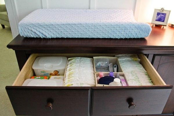 Elegant Changing Area Organization   Use The Dresser Top Drawer As The Diaper  Station And Used Drawer Organizers To Keep Everything Neat U0026 Tidy. I LOVE  This Idea!