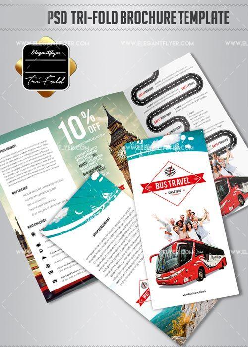 Bus Travel V TriFold PSD Brochure Template Free Download Http - Psd brochure template free download