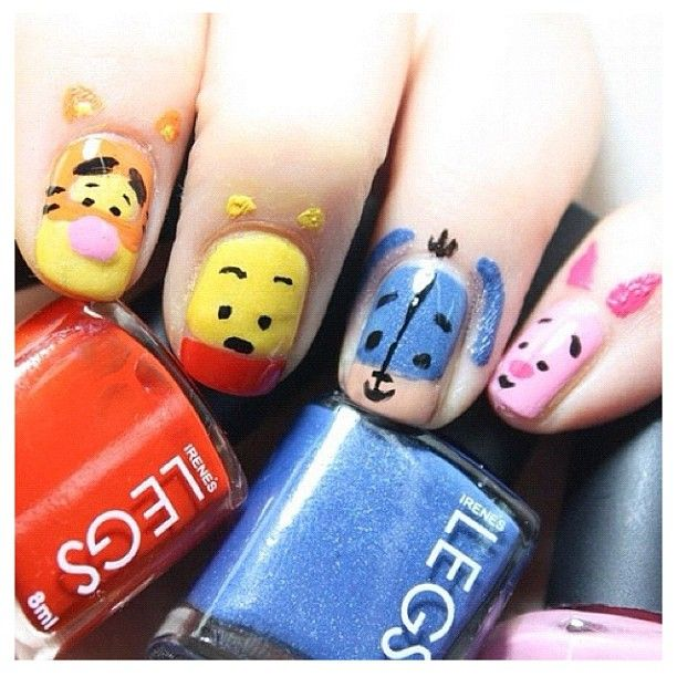 Pooh bear & friends - would be cute for Ems first Mani!