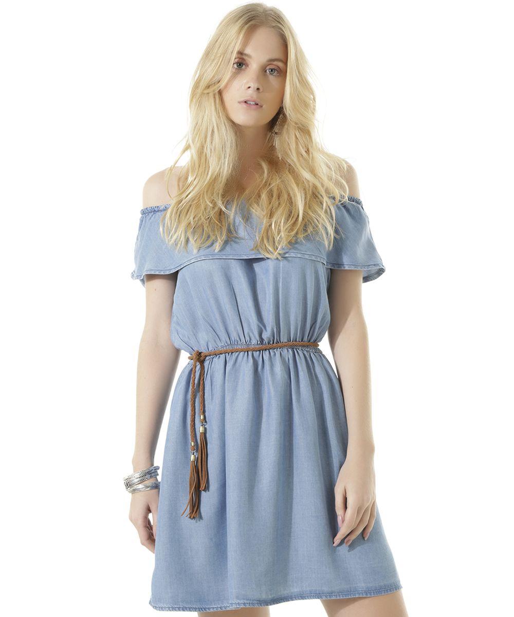 fb522fab10 Vestido Ombro a Ombro Jeans Dress To Azul Claro - cea
