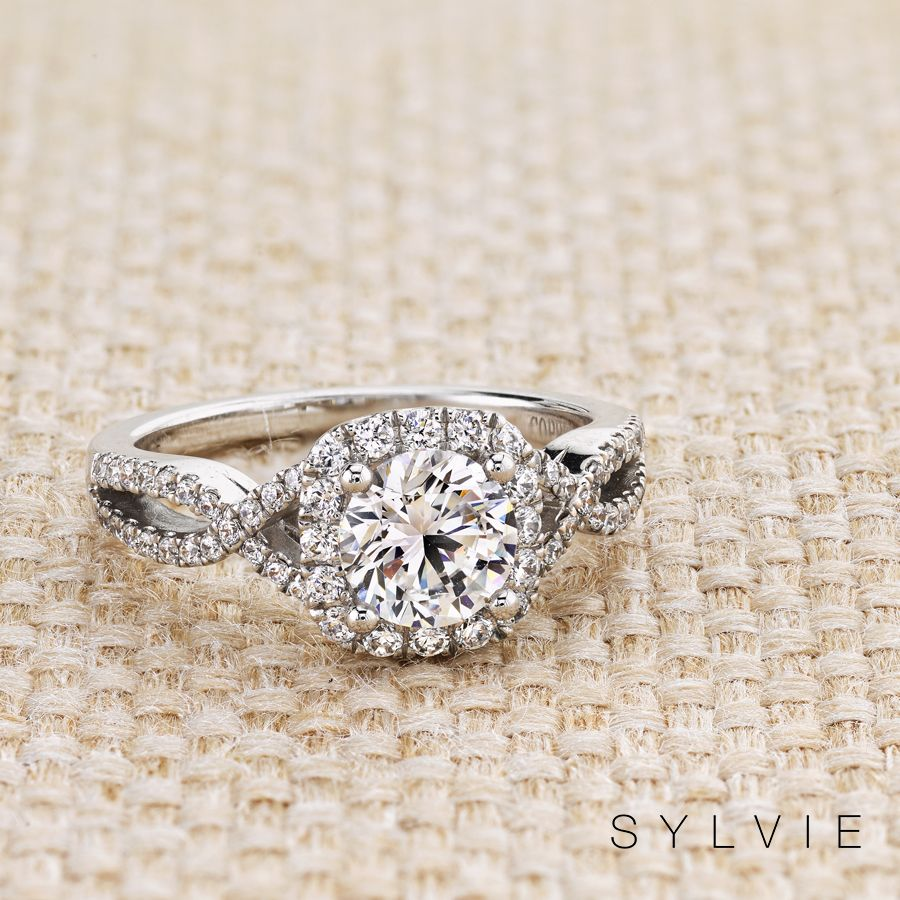 Classic Spiral Halo Engagement Ring Faustine Custom Engagement Ring White Gold Engagement Rings Halo Spiral Engagement Ring