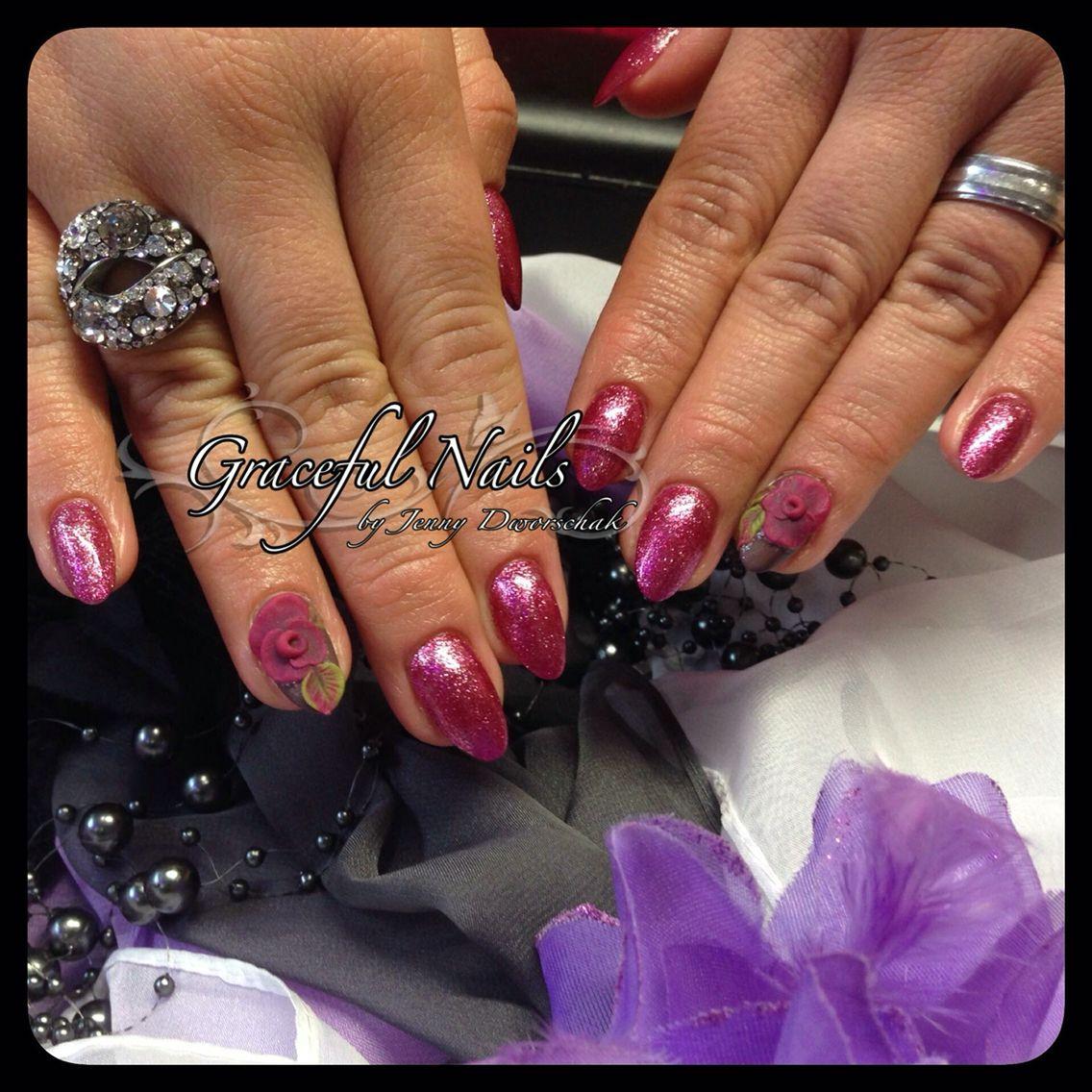 3D Acryl Blumen Fullcover Glitter Naildesign Nailart | Nails ...