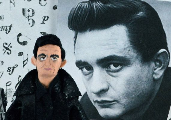 Johnny Cash Doll Miniature Man in Black by UneekDollDesigns