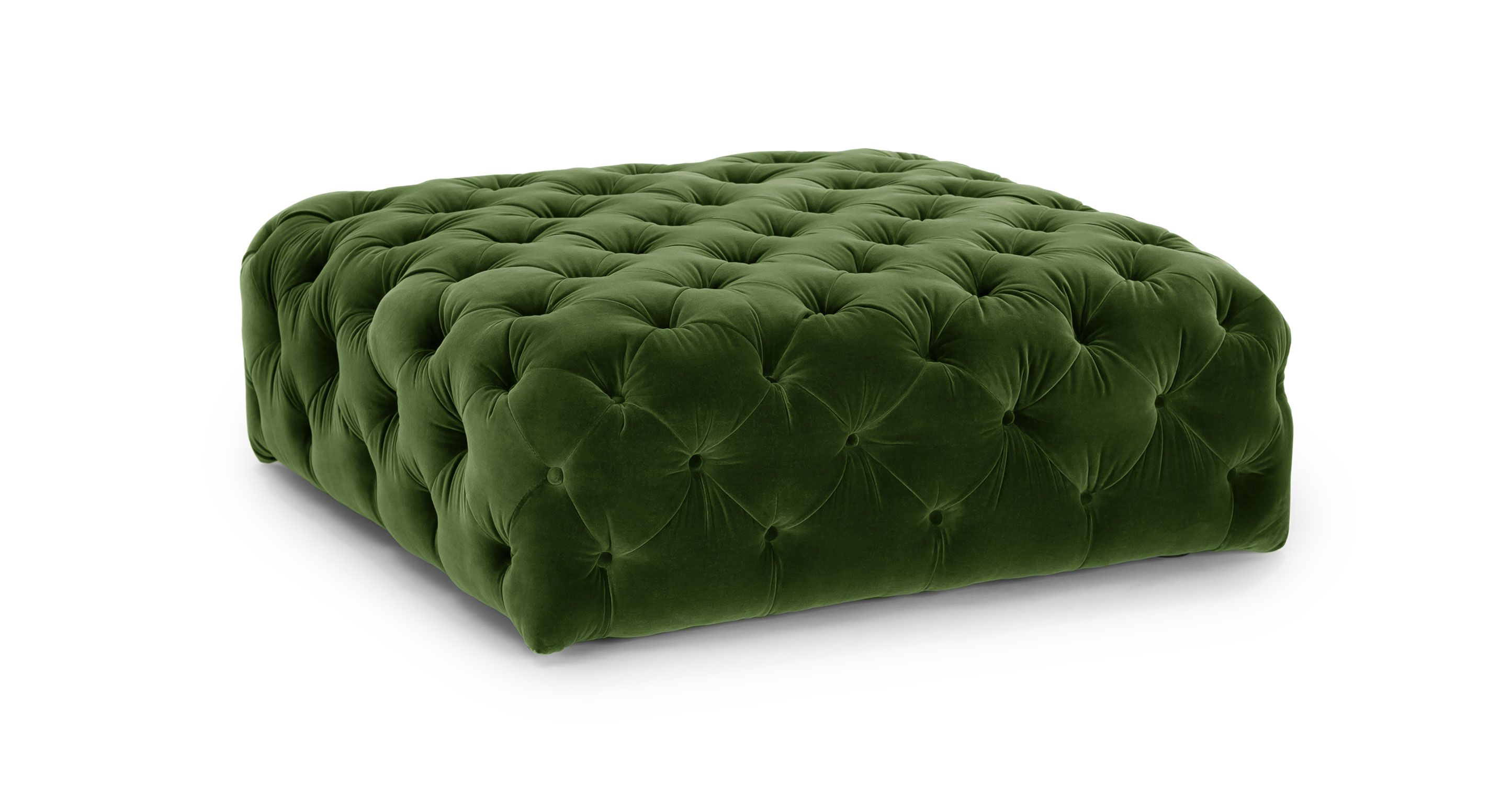 Green Velvet Tufted Ottoman | Article Diamond Modern Furniture
