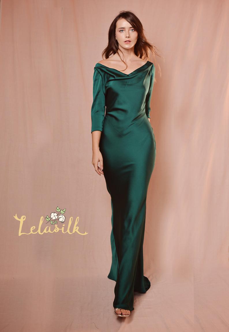 Cowl Neck Long Sleeves Dress Bridesmaids Silk Dress Etsy Long Sleeve Bridesmaid Dress Dresses Silk Dress Long [ 1149 x 794 Pixel ]