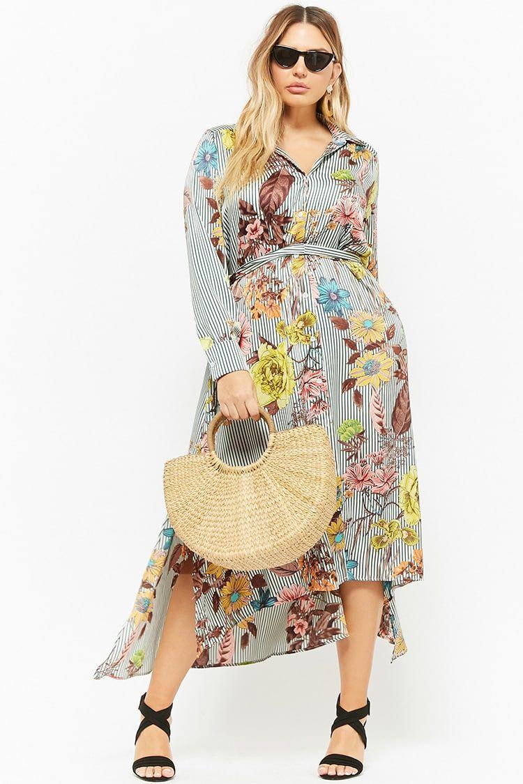 6b5ea7b0e43 Product Name Plus Size Floral Striped Button-Front Maxi Dress ...