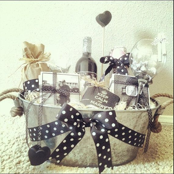 Unique Wedding Gift Basket Ideas: Personalized Engagement Gift Basket By