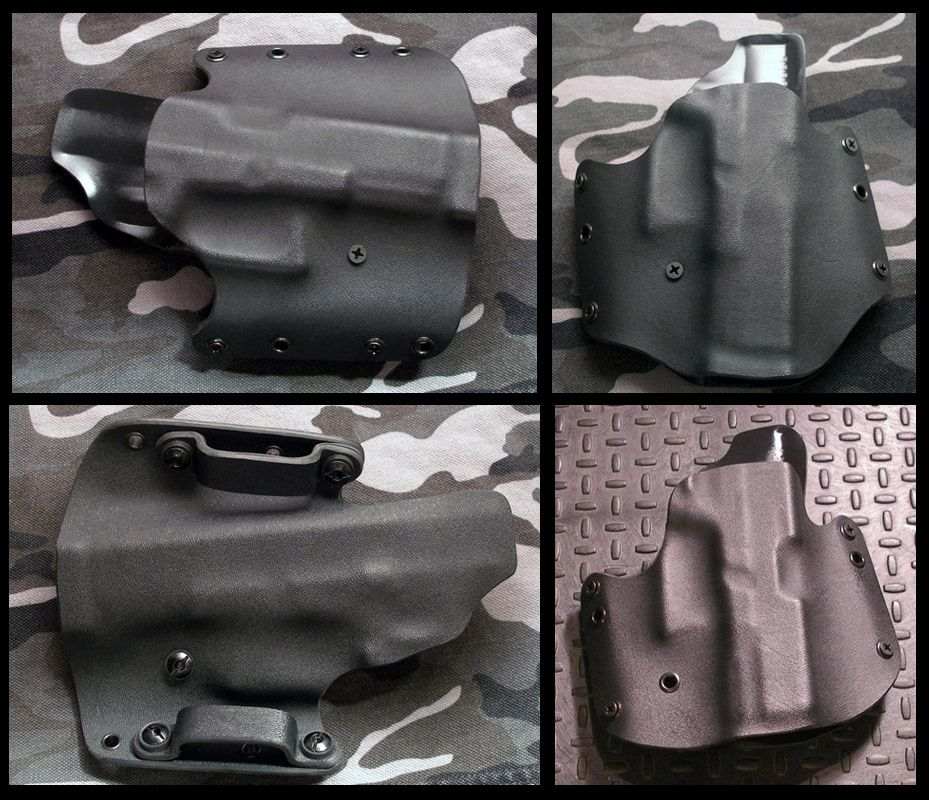 """The Silverback.  Primal Options standard OWB holster in 3 different cuts.  Made from .08"""" thick Kydex with double-thick OWB loops."""