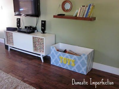 Captivating Stenciled Toy Box