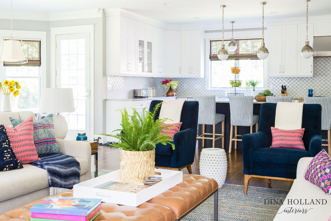 Dina-Holland-Interiors-Navy-Pink-Family-Room - open concept kitchen ...
