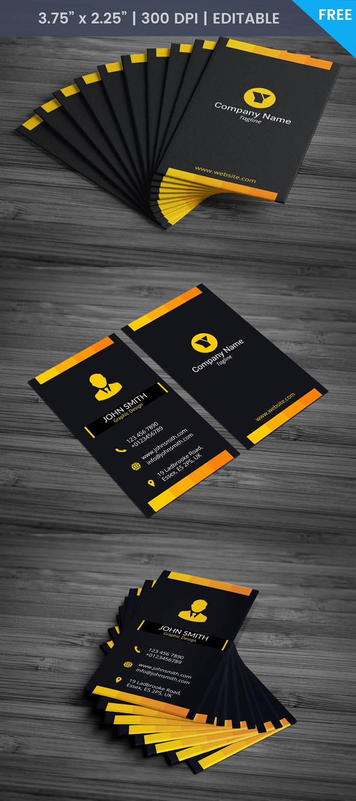 Free Yellow Black Business Card Template Free Business Card Templates Square Business Cards Business Cards Online
