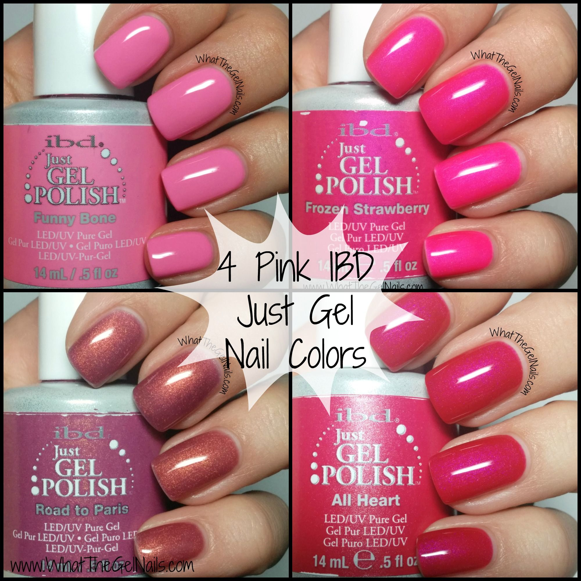 Gel Nail Polishes: Swatches Of Pink IBD Just Gel Nail Polish Colors. These