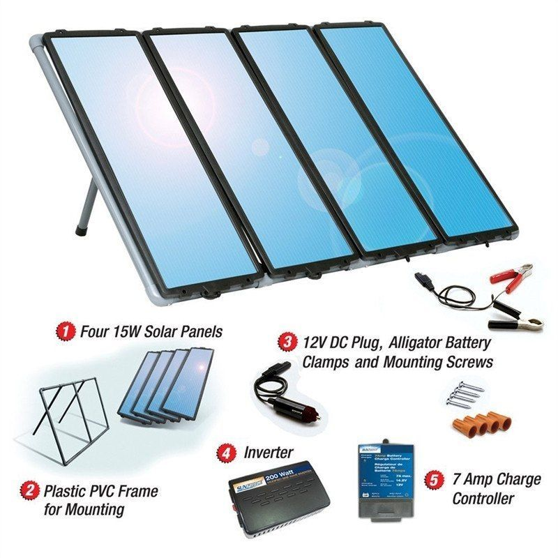 60 Watt Solar Panel Charging Kit With Charge Controller Inverter Solar Panels Solar Solar Heating