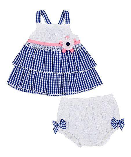 Little Lass Baby Blue & White Checker Ruffle Top & Diaper Cover   zulily