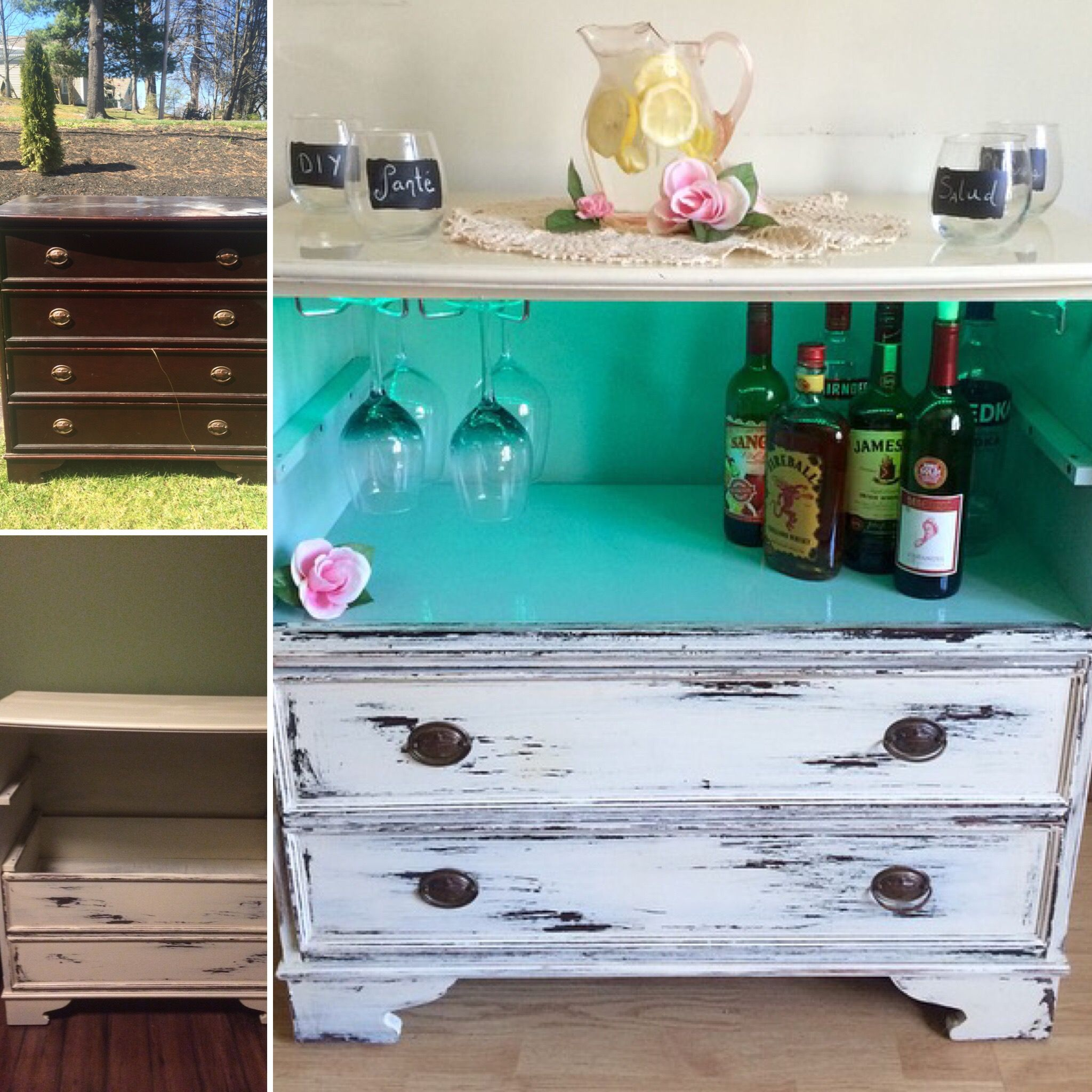 Ingenious Repurposing Unusual Kitchen Islands And Printers: DIY Dresser To Lighted Wine Bar
