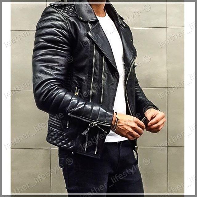 New Men/'s Genuine Lambskin Leather Jacket Black Slim fit Biker Motorcycle jacket