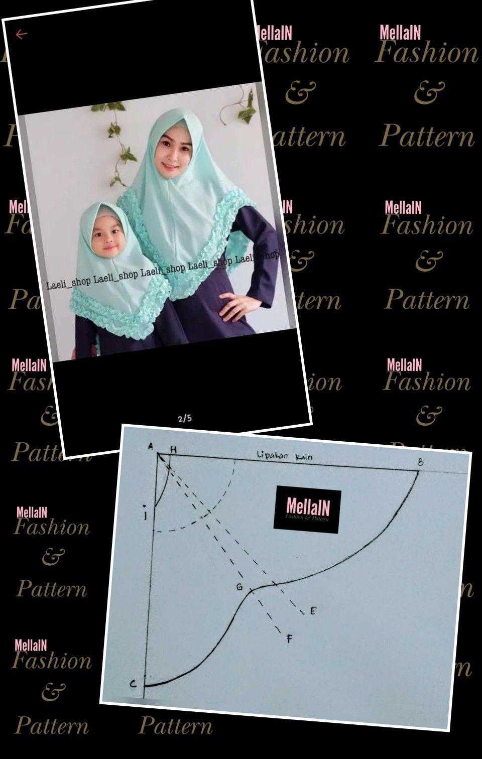 Khimar Di 2020 Pola Jahitan Kursus Hijab Pola Menjahit Gratis