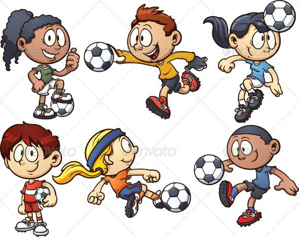 Soccer Kids Kids Playing Kids Soccer Cartoon Kids