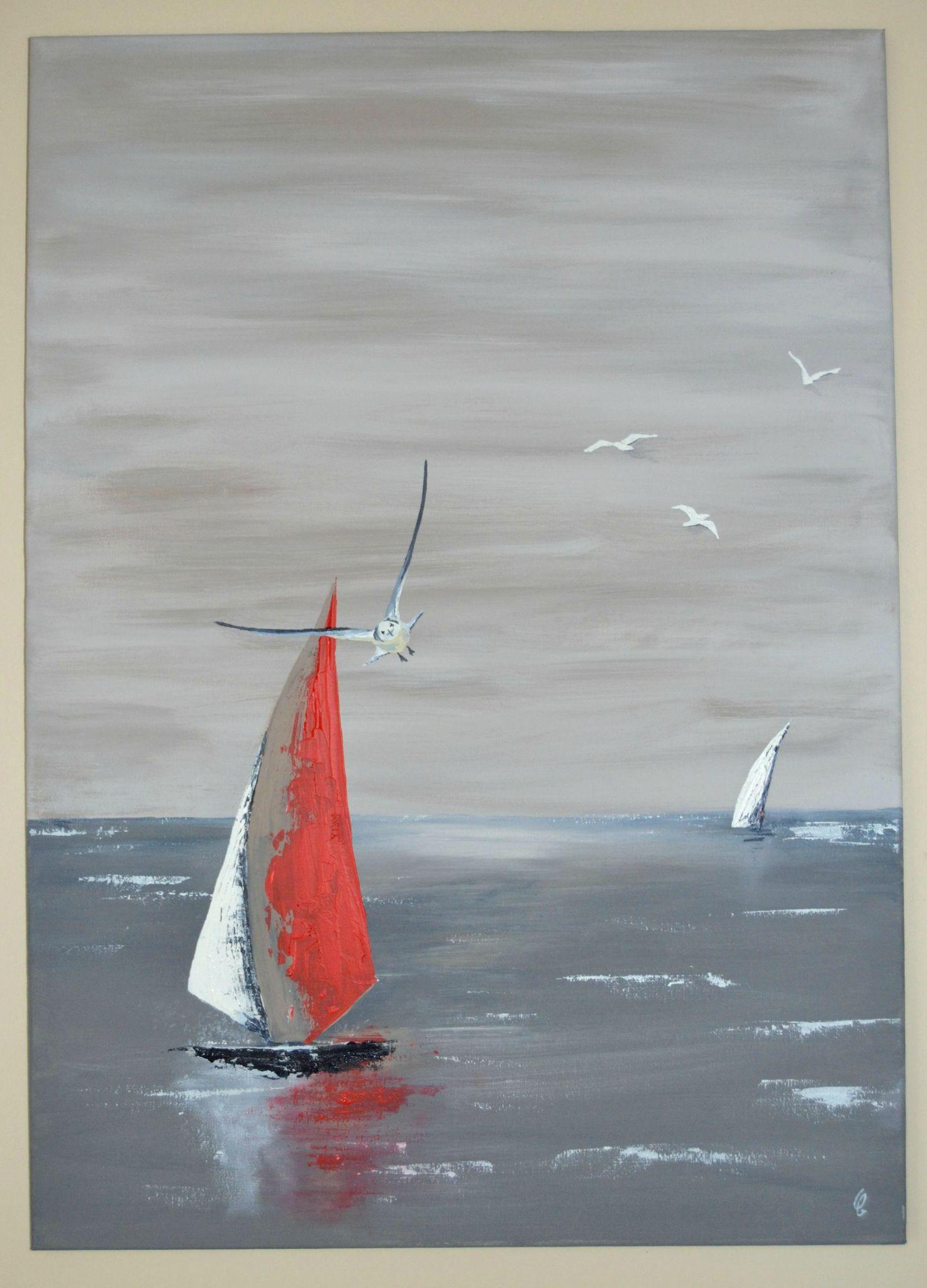 En Vol Gustave A La Mer Peinture De Voilier
