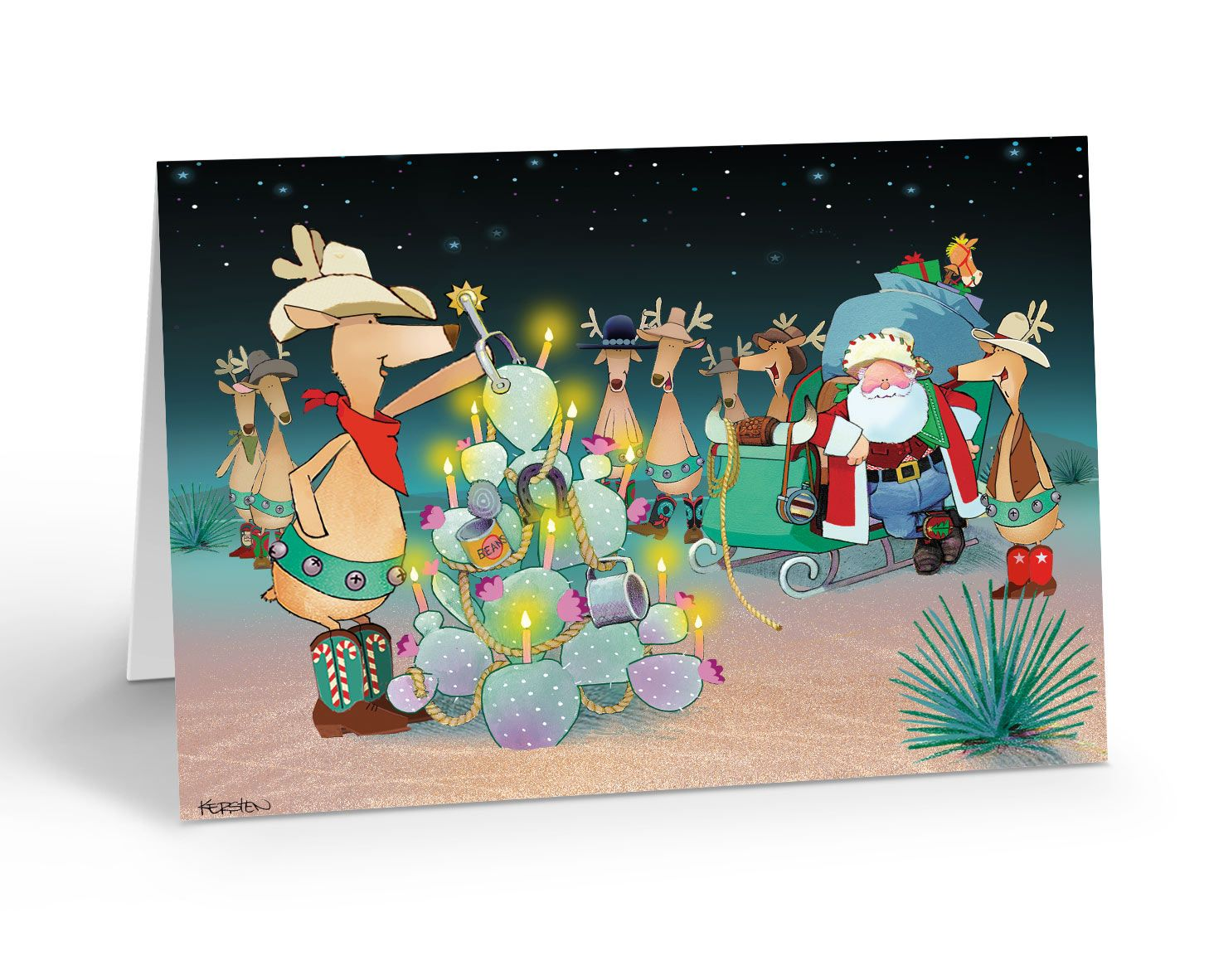 Christmas tree cowboy style western christmas cards