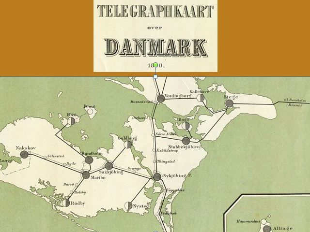 Telegrafkort Over Danmark 1890 Med Bogos Kabel Fort Over Fra