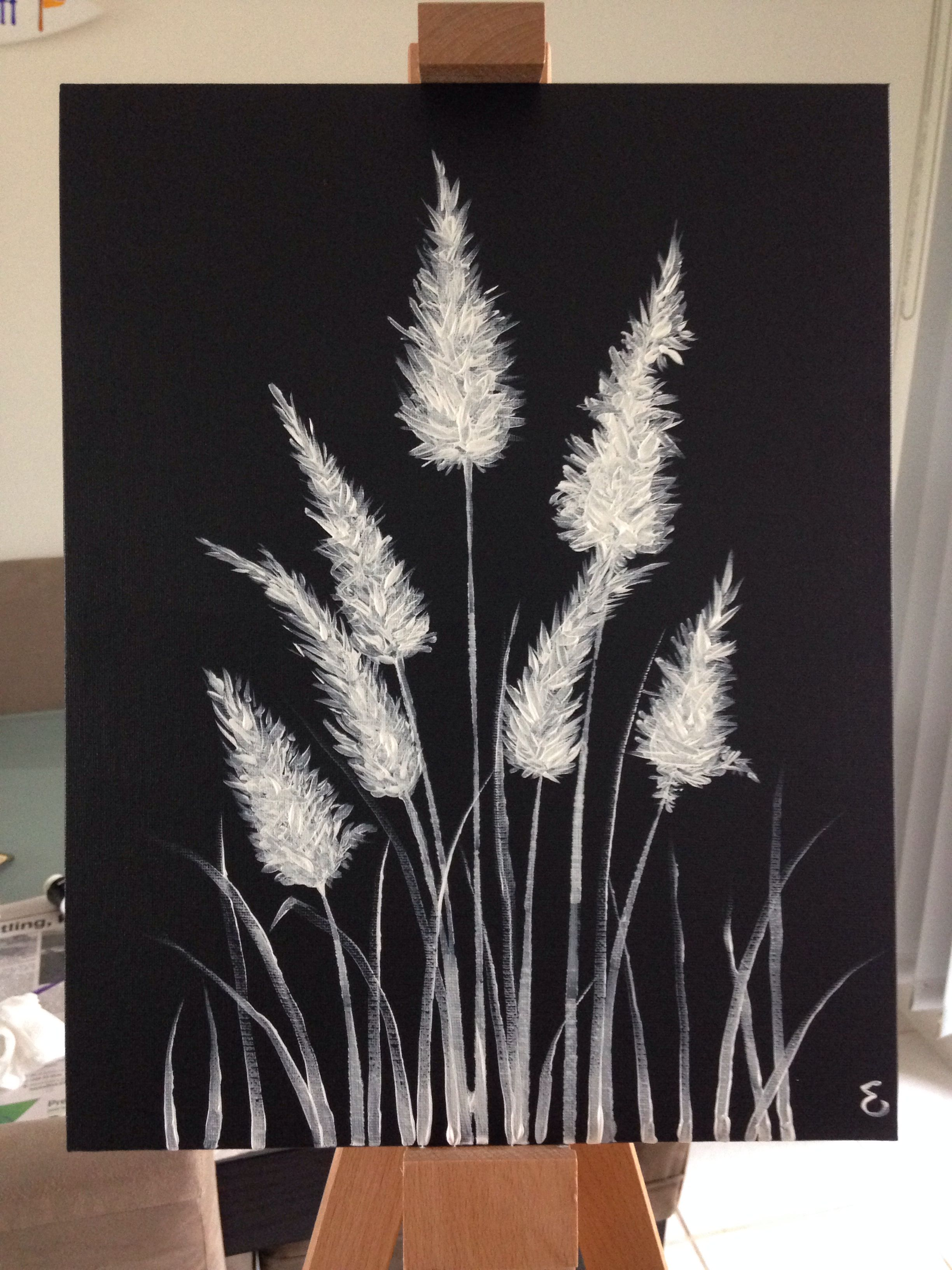 Black And White Painting Acrylic Paint On Canvas Toetoe Grass Black Canvas Paintings Black Canvas Art Canvas Painting Diy