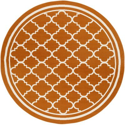 Charlton Home Osage Rust Indoor/Outdoor Area Rug Rug Size: Round 7'10""