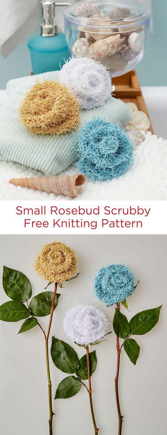 Small Rosebud Scrubby Free Knitting Pattern in Red Heart Scrubby ...