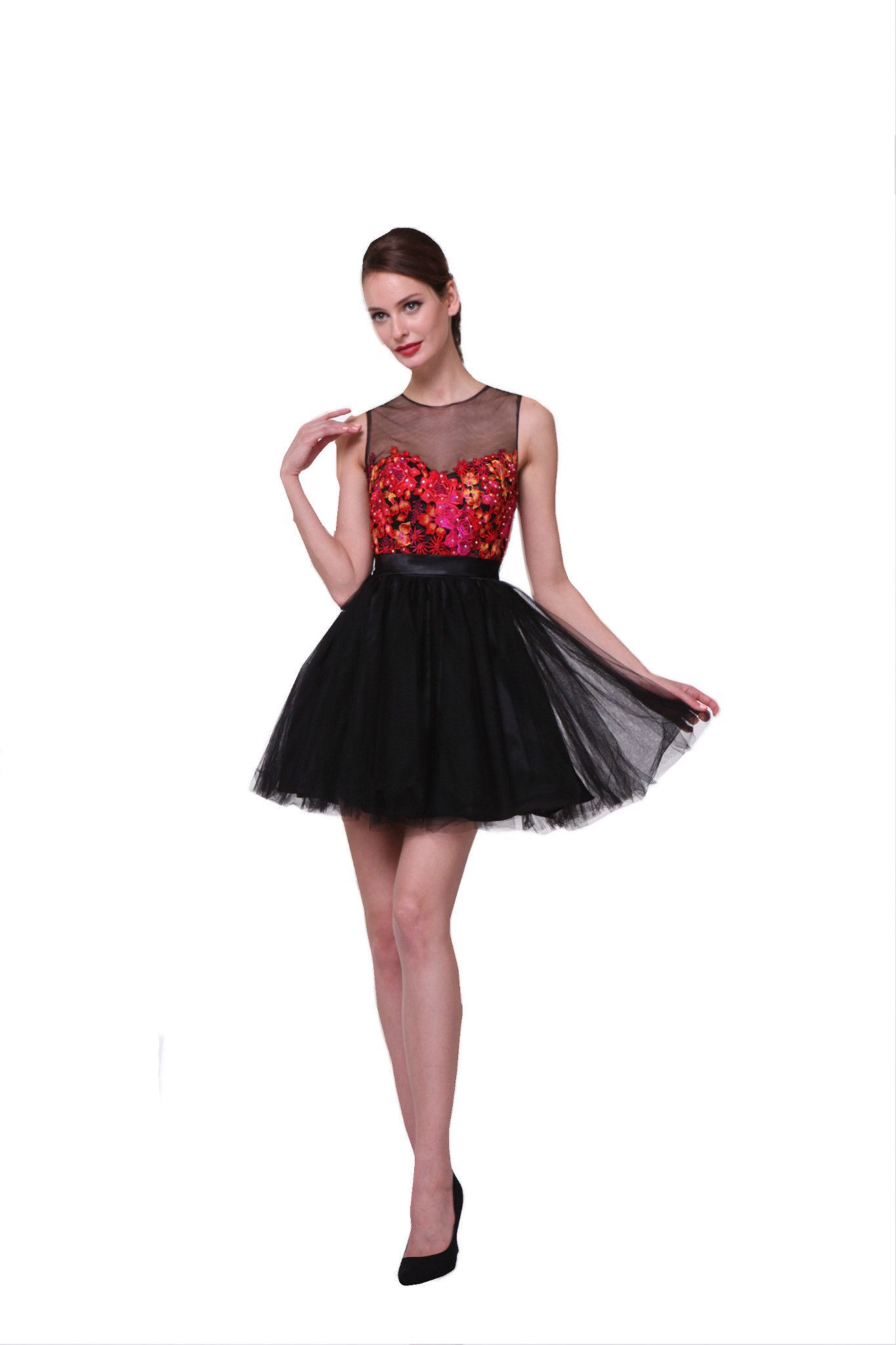 Flirty black red floral illusion short prom cocktail dress