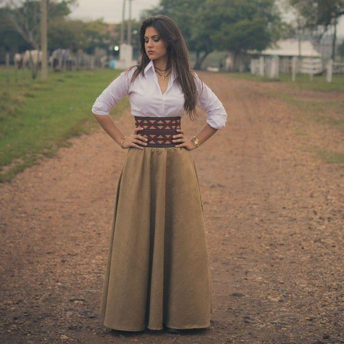 Modelitos de Saias de prenda gaúcha longas tradicionais  7dd0ae7e79f