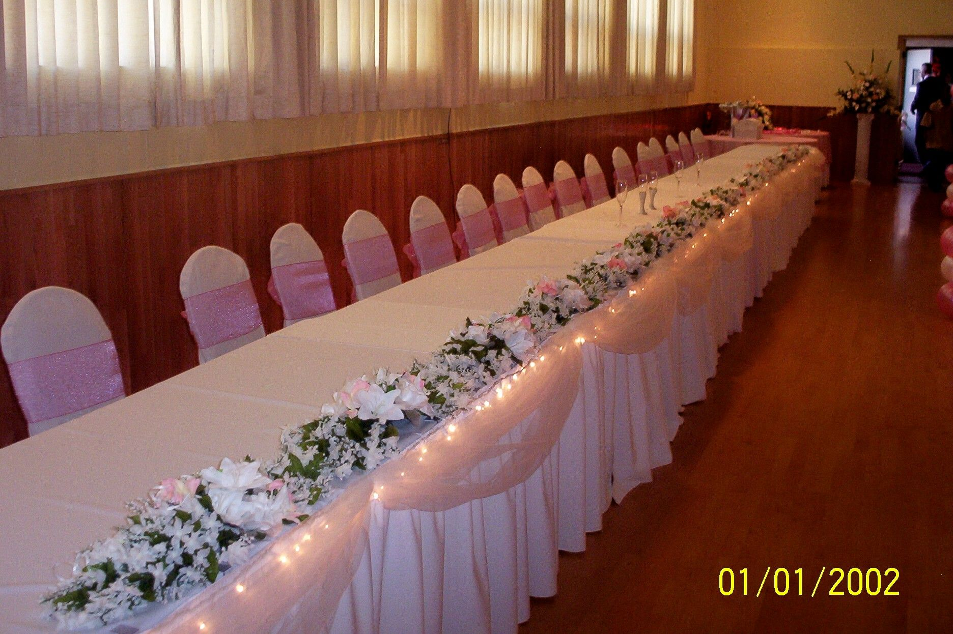 Decorations For Bride And Groom Tables | Floral, Tulle, U0026 Lights Head Table  Decor
