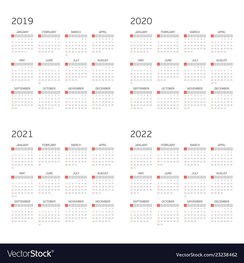 Calendar 2020 To 2022 Calendar Template Printable Vector Free Calendar Template Template Printable