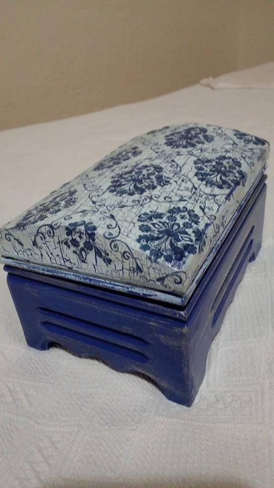 çatlatma peçete boyama sanat ahşap boyama takı kutusu mavi beyaz ...