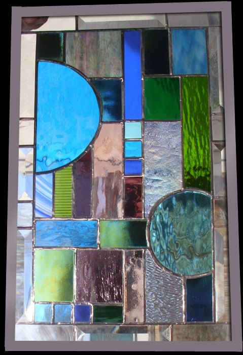 Stained Glass WIndow  Cool Abstract  Panel. $189.00, via Etsy.