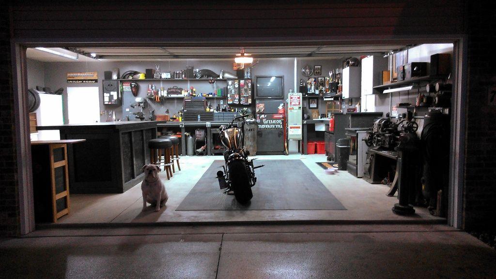 Bike Shop At Night Concrete Floor Grey Walls Make Dark
