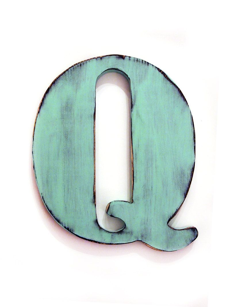 Letter Q in Mint Pine Wood Sign Wall Decor Rustic Americana Country Chic  Wedding Photo Prop Nursery Kids Decor