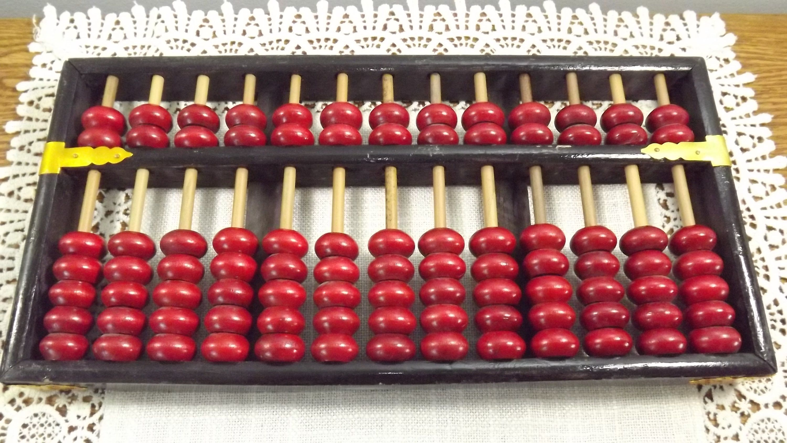 Vintage Chinese Abacus Suanpan Calculating Tool Lotus Flower Brand