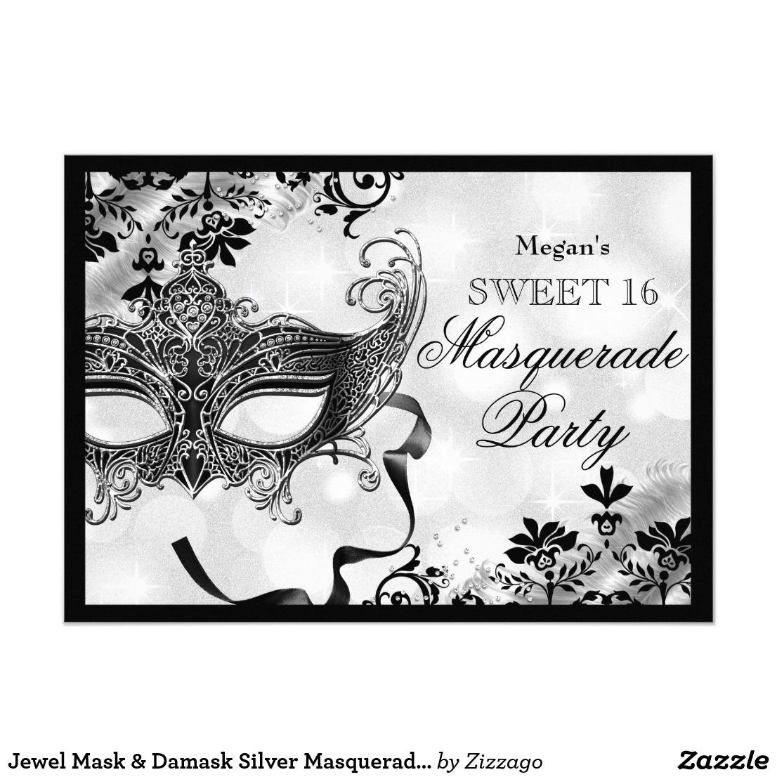 Jewel Mask & Damask Silver Masquerade Sweet 16 Invitation ...