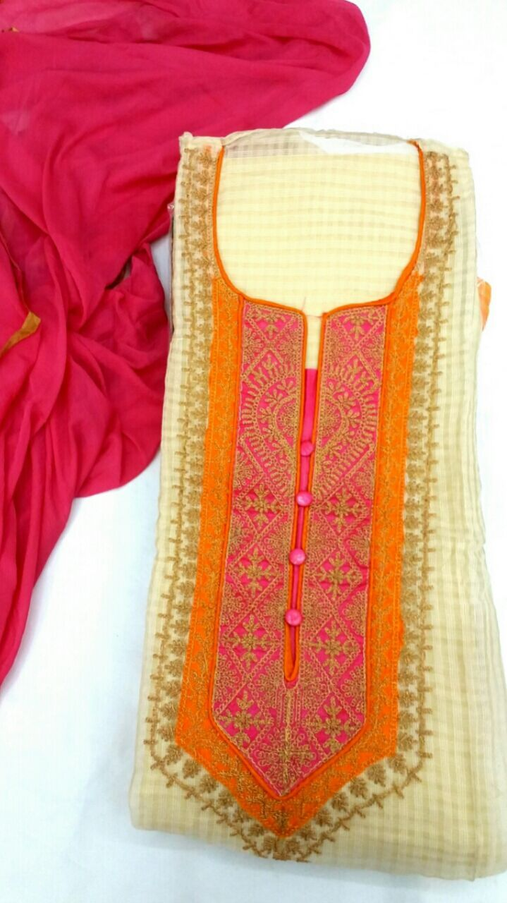 Checkout this most attractive & selling designer suits.  Description: Top - chanderi check kota silk with beautiful zari work embroidery neck n border with inner Bottom - cotton Dupatta - chiffon    Only @ Rs:1795/-    Order now, call: +91 88988 89404    #IndianFashion #GrabItToday #OrderToday #Elegance #Beautiful #AlankritaWeboutique #Accessories #Clothing #OnlineShopping