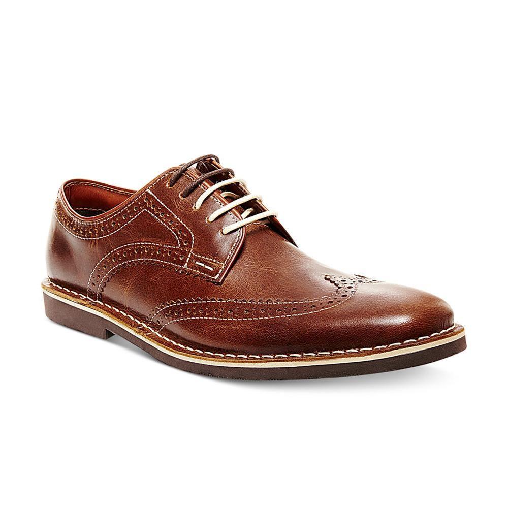 Steve Madden Lookus Shoe In Cognac Leather Wingtip Oxford Shoes Mens Cognac Dress Shoes Mens Wingtip Shoes