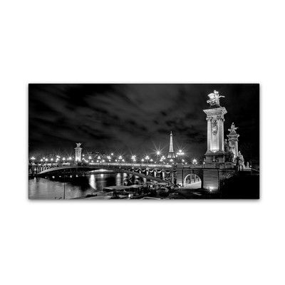 "Trademark Art 'Parisian Bridge' by Preston Photographic Print on Wrapped Canvas Size: 24"" H x 47"" W x 2"" D"
