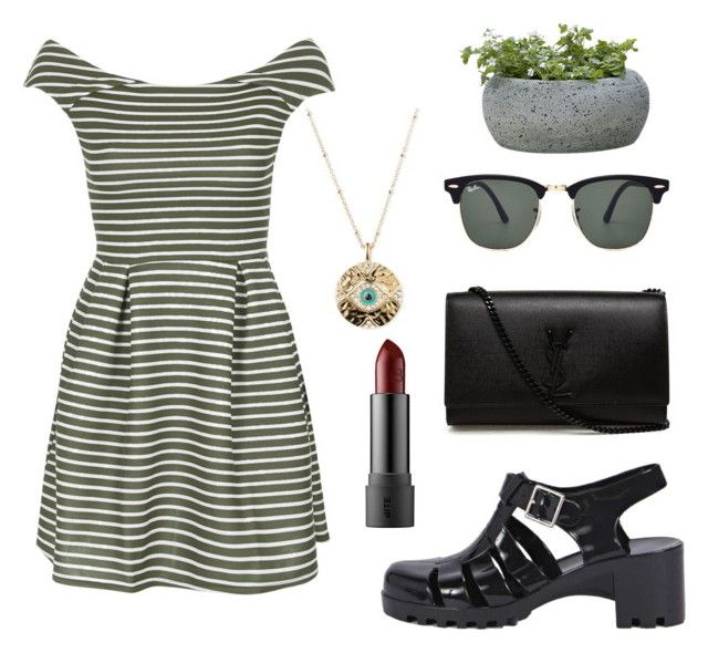 """Off-Shoulder Dress"" by directioner1dx ❤ liked on Polyvore featuring moda, WalG, Boohoo, Campania International, Ray-Ban, Lonna & Lilly y Yves Saint Laurent"