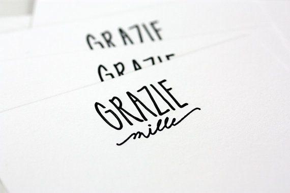 letterpress grazie mille cards
