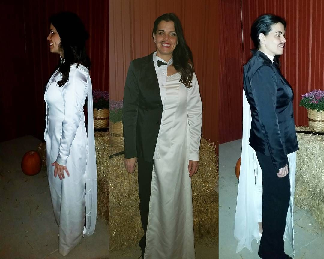 Half bride half groom Halloween costume I had a lot of fun making it  sc 1 st  Pinterest & Half bride half groom Halloween costume I had a lot of fun making ...