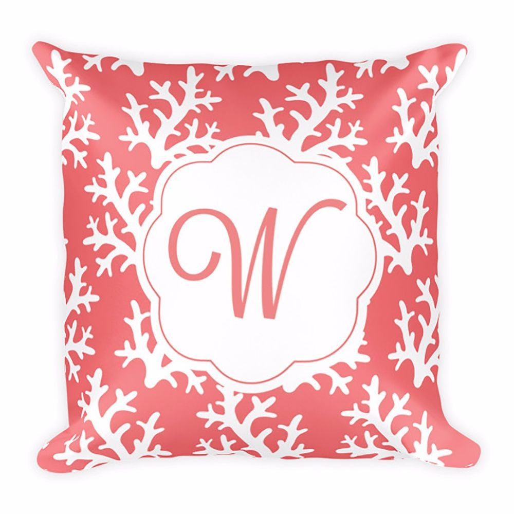 Monogram Coral Pattern Pillow for Home Decor Wedding Gift ...