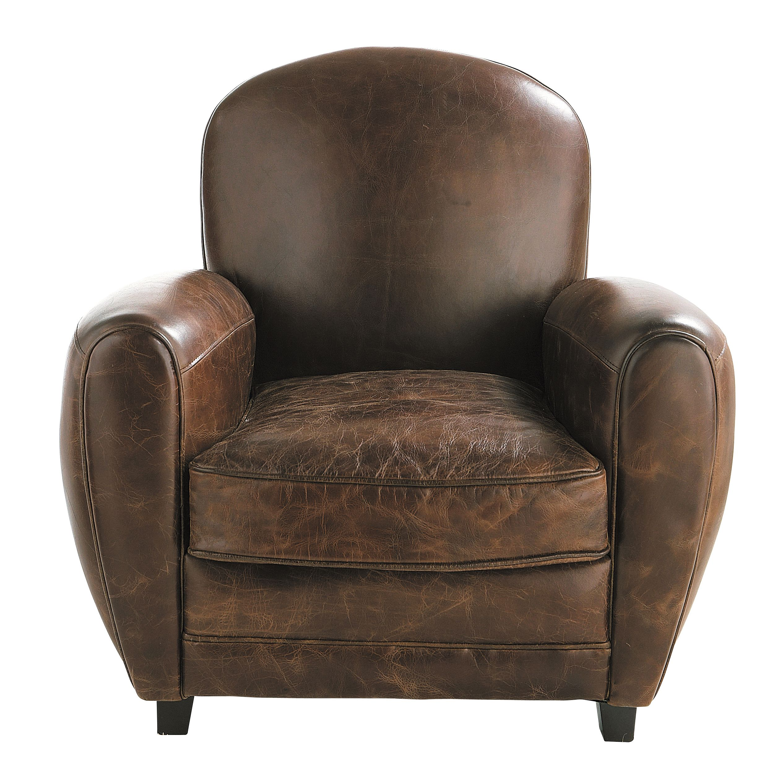 fauteuil club en cuir marron objets armchair brown. Black Bedroom Furniture Sets. Home Design Ideas