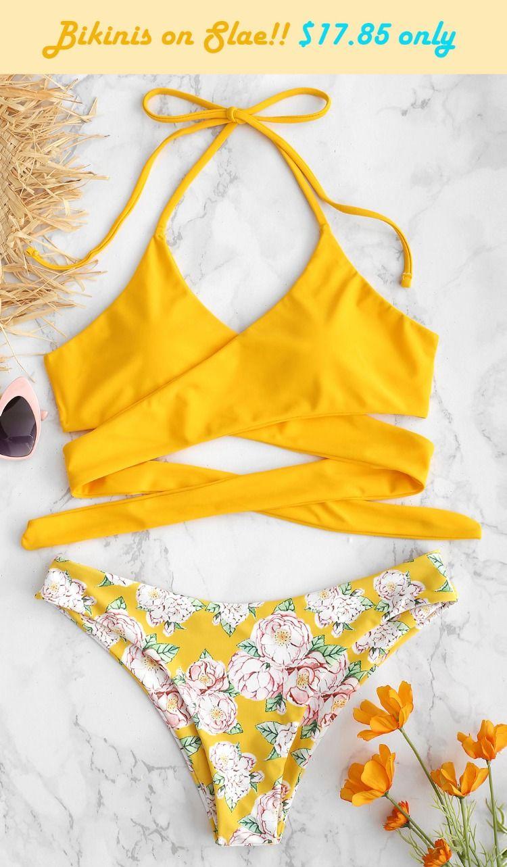 50e400d76f47d3 Style: Basic Swimwear Type: Bikini Bikini Type: Wrap Bikini Gender: For  Women Collar-line: Halter Pattern Type: Floral Cheap swimwear Halter Flower  Criss ...