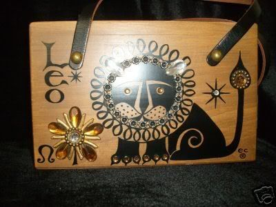 7aee05716d4d Enid Collins zodiac Leo wood box bag purse in black print with gold gem  trim.