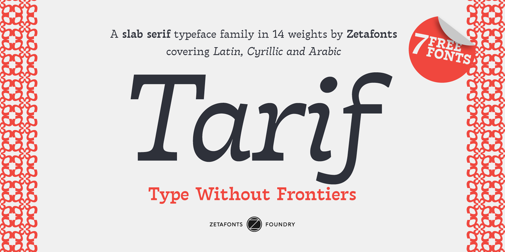 New free font 'Tarif Arabic' by Zetafonts · Free for