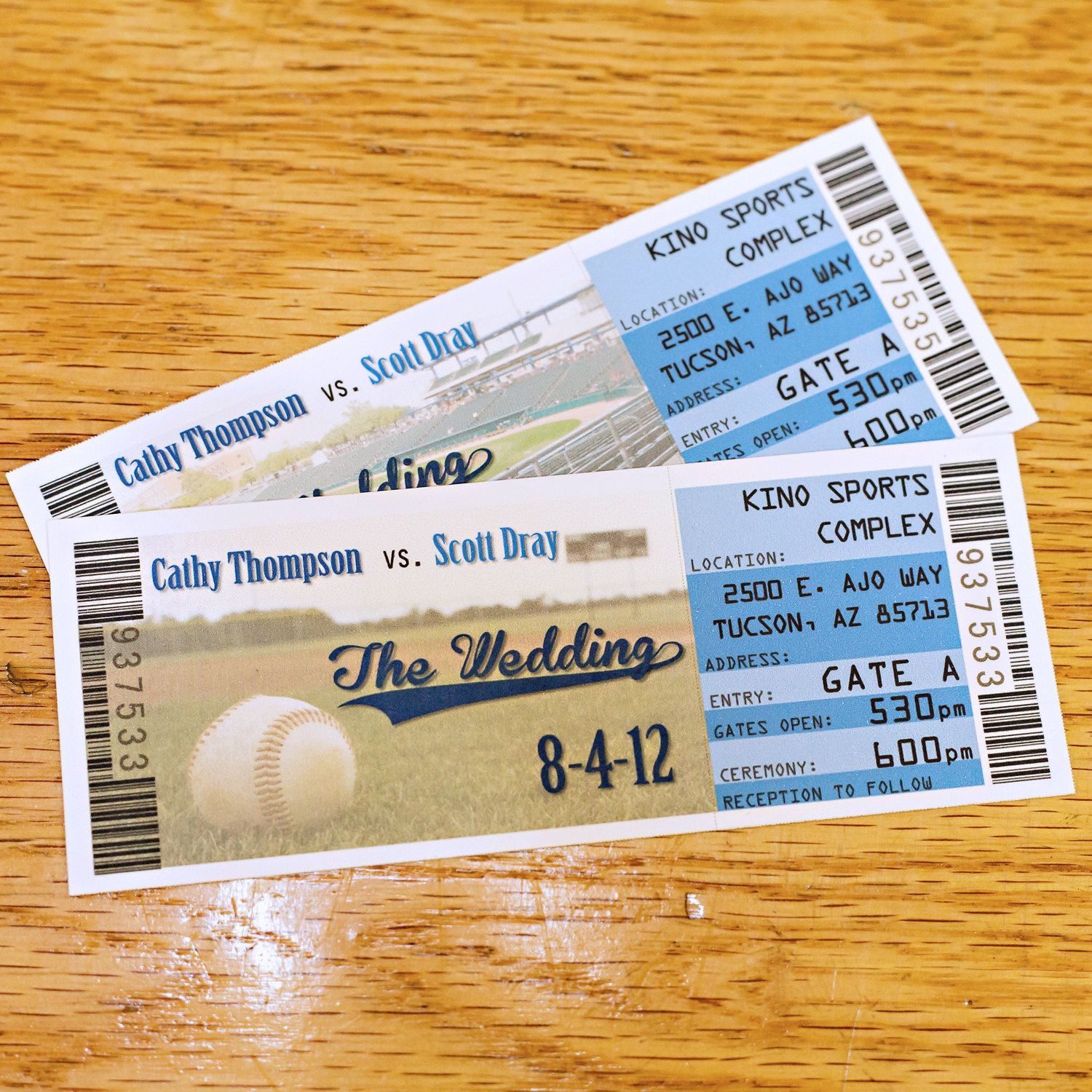 Baseball Ticket Place Cards Seating Cards Wedding Escort Tickets